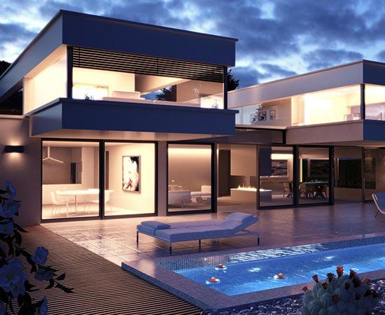 villa architecte 3d crepuscule
