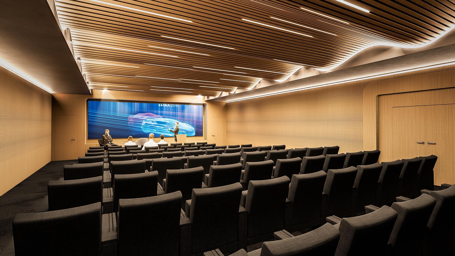 auditorium grand ecran plafond vague