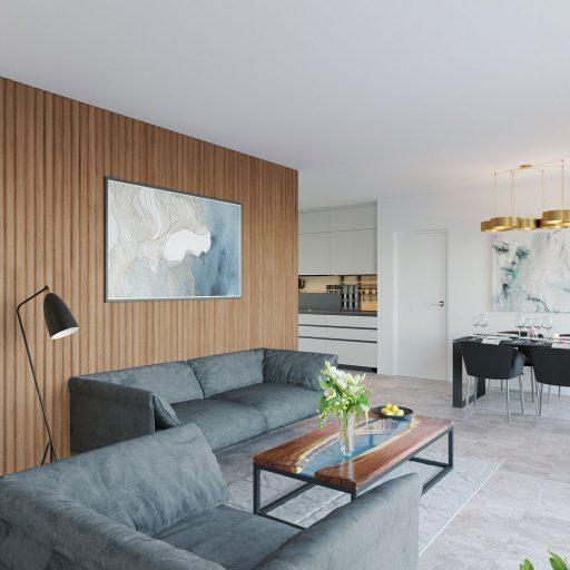 immeuble appartement table canapé luminaire