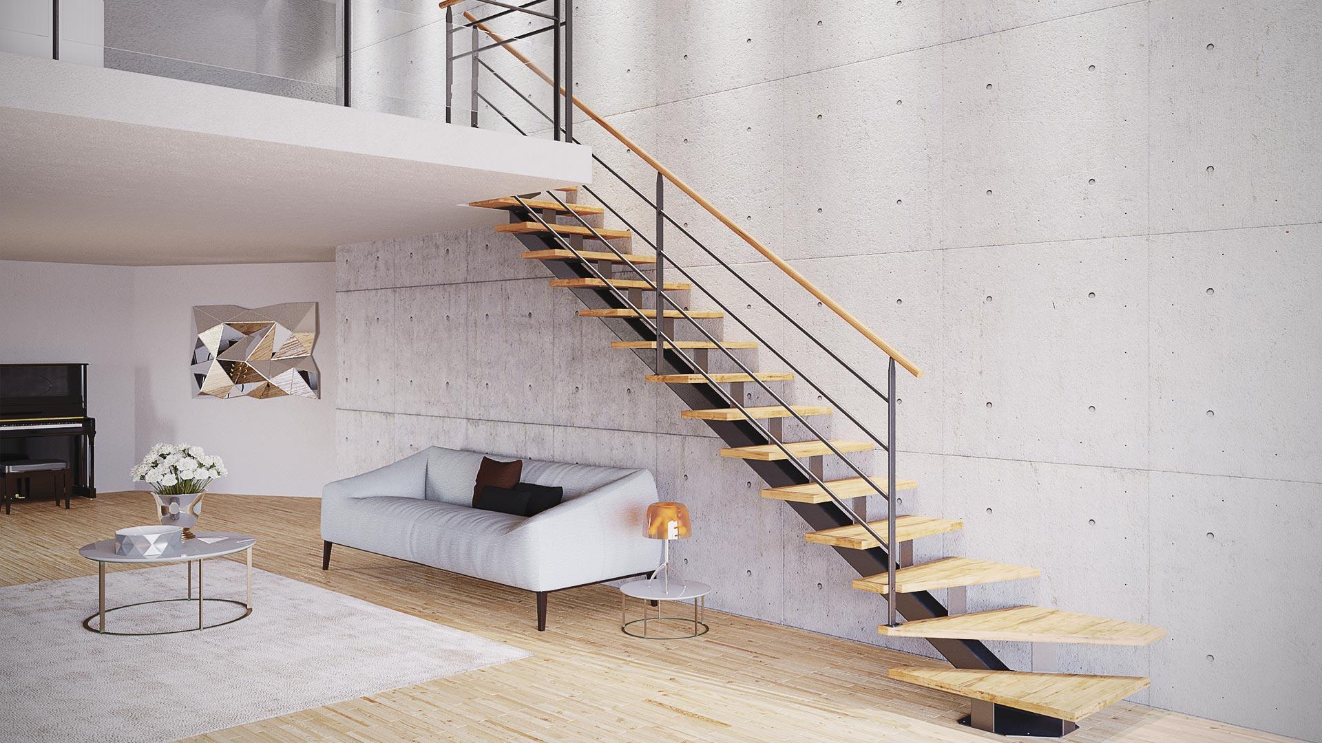 Infographie 3D d'escalier
